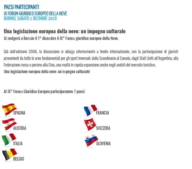 FORUM GIURIDICO EUROPEO DELLA NEVE - BORMIO